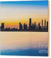 Dubai Skyline At Dusk Wood Print
