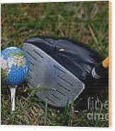Earth Golf Ball And Golf Club Wood Print