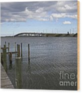Eau Gallie Causeway Over The Indian River Lagoon At Melbourne Fl Wood Print