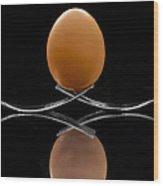 Egg On Top Of Forks Wood Print