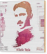 electric generator patent art Nikola Tesla Wood Print