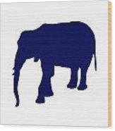 Elephant In Navy And White Wood Print