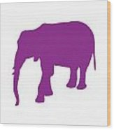 Elephant In Purple And White Wood Print