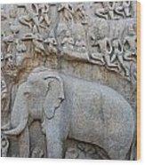 Elephant Sculpture At Mamallapuram  Wood Print