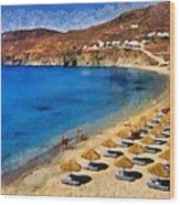 Elia Beach In Mykonos Island Wood Print