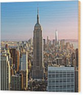 Empire State Building At Sunset Wood Print