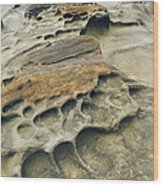 Eroded Sandstone Cliff Along The Ocean Wood Print
