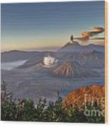 eruption at Gunung Bromo Wood Print