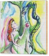 Eve And The Serpent Wood Print