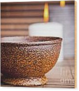 Exotic Bowl And Candles Wood Print