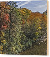 Fall Along The Linville River Wood Print