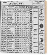 Family Almanac, 1874 Wood Print