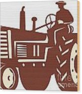 Farmer Driving Vintage Tractor Retro Wood Print by Aloysius Patrimonio