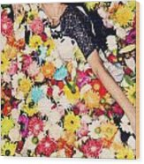 Fashion Model Posing With Flowers Wood Print