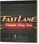 Fast Lane In Lights Wood Print