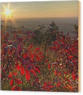 Fire On The Mountain Wood Print by Debra and Dave Vanderlaan