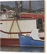 2 Fishing Boats At The Dock Wood Print