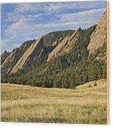 Flatirons With Golden Grass Boulder Colorado Wood Print