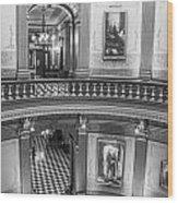 2 Floors Black And White Michigan State Capitol  Wood Print