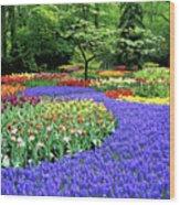Flowers At A Garden Wood Print