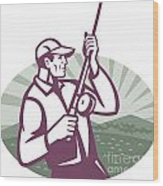 Fly Fisherman Fishing Retro Woodcut Wood Print by Aloysius Patrimonio