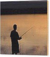 Fly Fishing At Sunset Wood Print