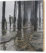 Fog At The Pier Wood Print