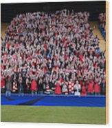 Football crowd in stadium Wood Print