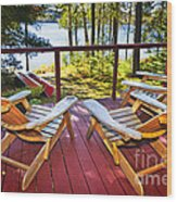 Forest Cottage Deck And Chairs Wood Print by Elena Elisseeva