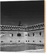Fort Jefferson Walls With Garden Key Lighthouse Bastion And Moat Dry Tortugas National Park Florida  Wood Print by Joe Fox