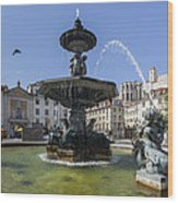 Fountain In The Pedro Iv Square Also Best Known As Rossio Square Wood Print