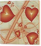 Fractal Red Hearts Wood Print