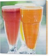 Fresh Orange Carrot And Watermelon Fruit Juice Wood Print