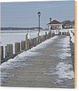 Frozen Northport Dock Wood Print