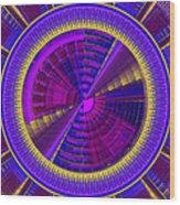 Futuristic Tech Disc Fractal Flame Wood Print