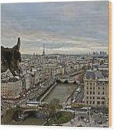 Gargoyle Overlooking Paris Wood Print