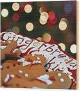 Gingerbread Cookies On Platter Wood Print