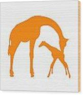 Giraffe In Orange And White Wood Print