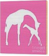 Giraffe In Pink And White Wood Print