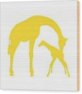 Giraffes In Golden And White Wood Print