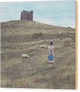 Girl With Sheeps Wood Print
