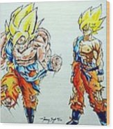 Goku In Action Wood Print by Tanmay Singh