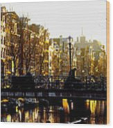 Golden Amsterdam Wood Print