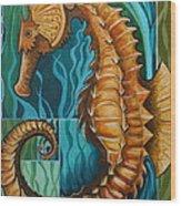 Golden Seahorse Wood Print