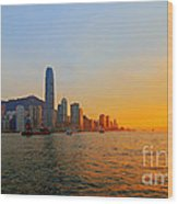 Golden Sunset In Hong Kong Wood Print