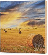 Golden Sunset Over Farm Field With Hay Bales Wood Print