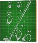 Golf Club Patent 1909 - Green Wood Print