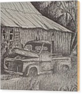 Grandpa's Old Barn With Chevy Truck Wood Print by Chris Shepherd
