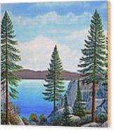 Granite Boulders Lake Tahoe Wood Print