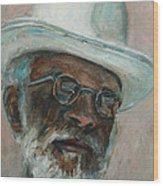 Gray Beard Under White Hat Wood Print